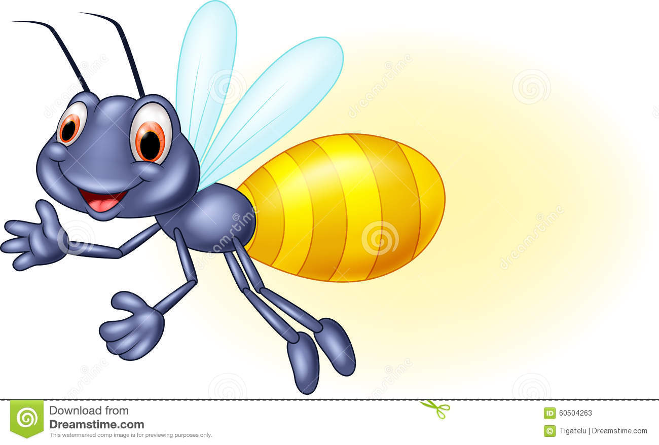 Illustration of Adorable cartoon firefly waving on white background.
