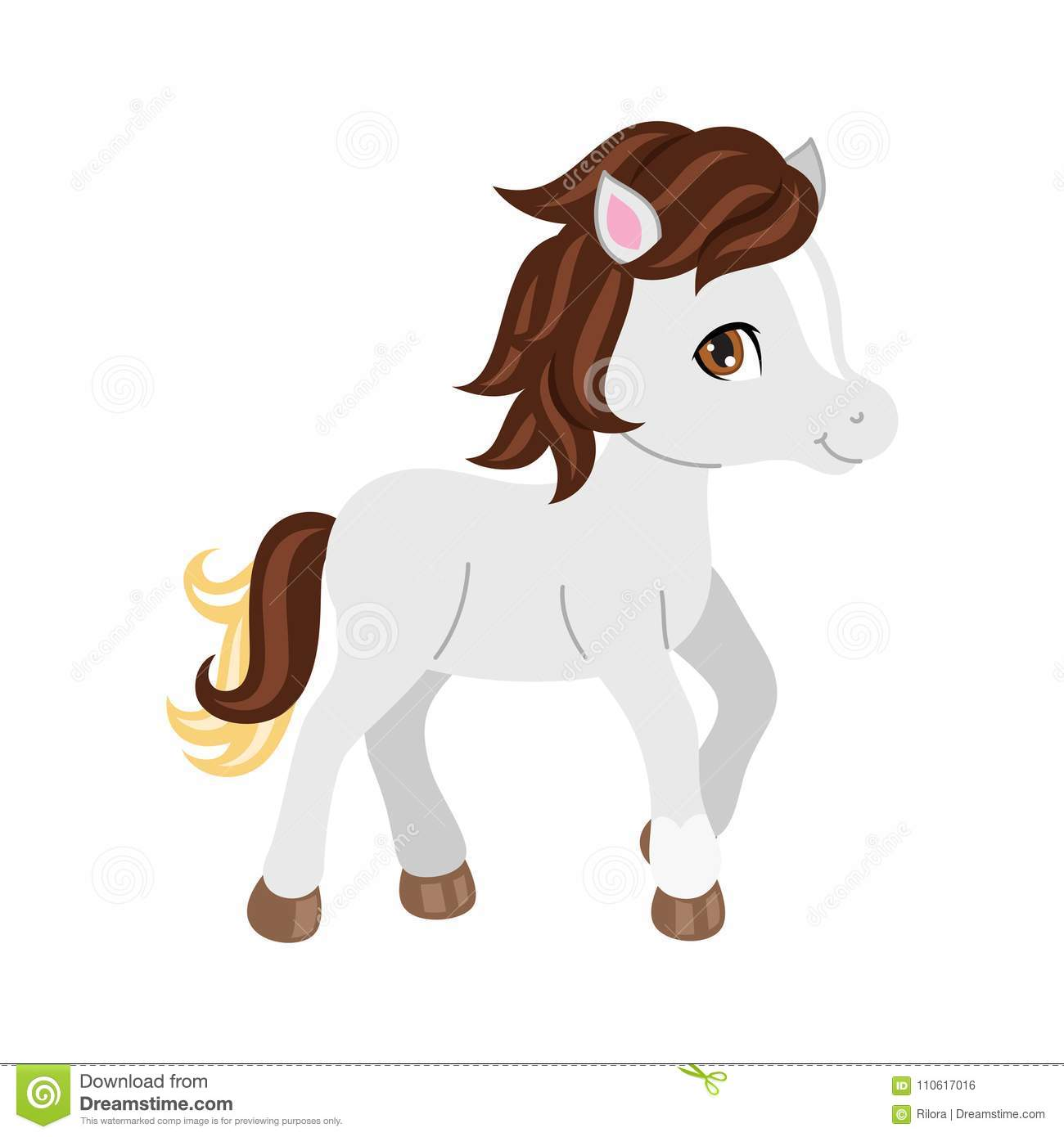 Adorable Cartoon Horse Character Stock Vector Illustration Of Clipart Kids 110617016