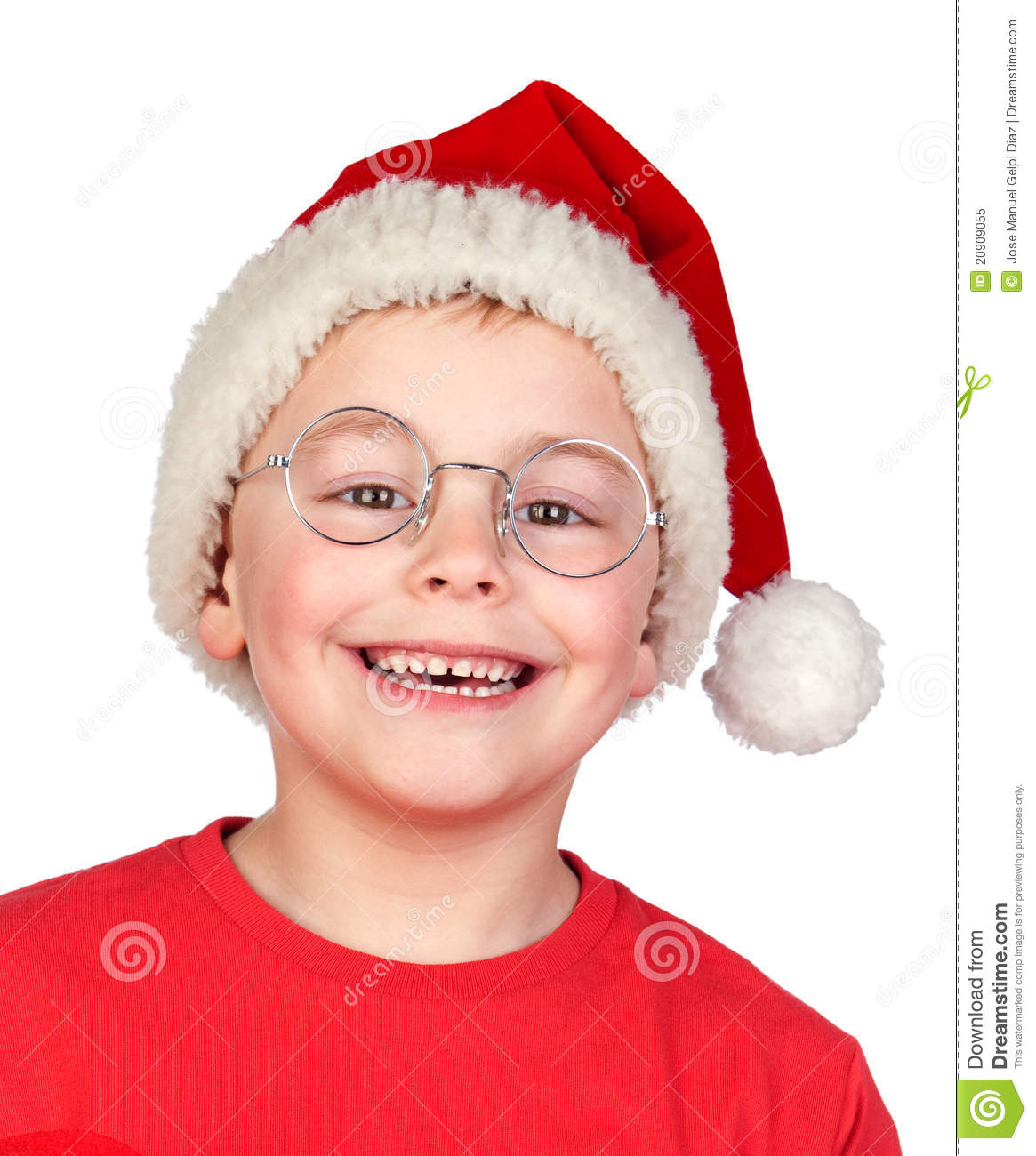 Adorable Child With Santa Hat And Glasses Royalty Free