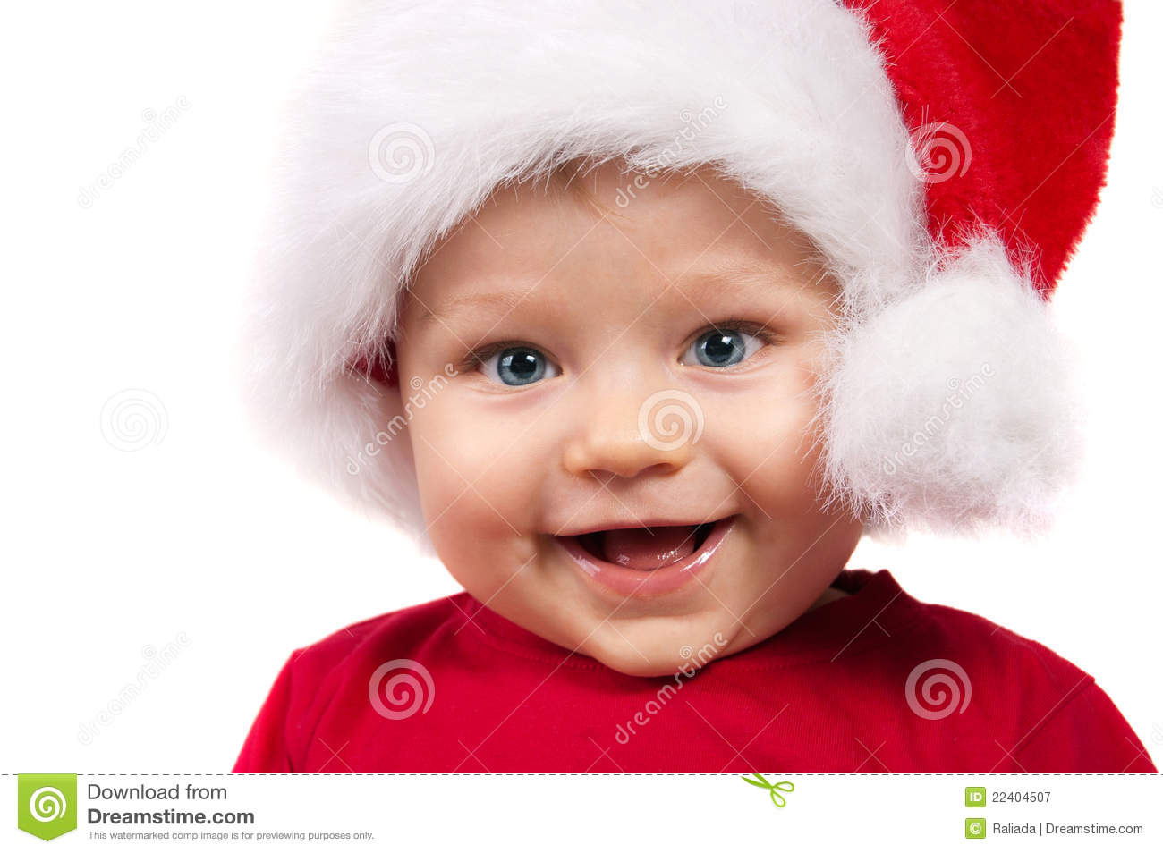 Christmas Child.Adorable Christmas Child In A Red Hat Stock Image Image Of