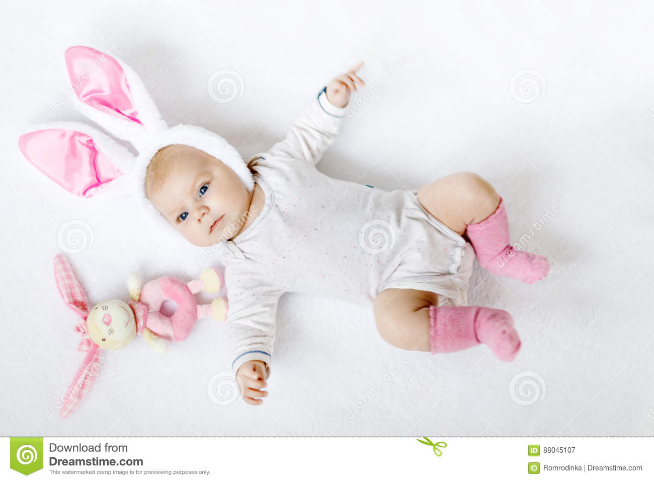 Adorable Cute Newborn Baby Girl Easter Bunny Toy