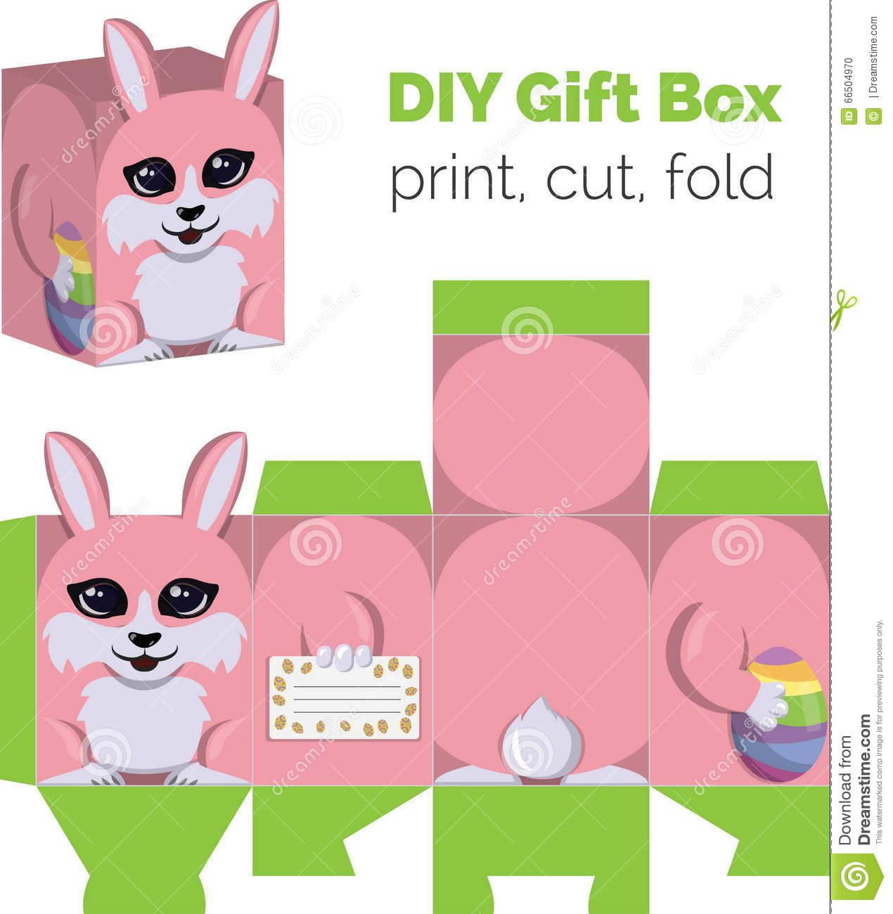 Adorable do it yourself diy easter bunny with egg gift box with adorable do it yourself diy easter bunny with egg gift box with ears for sweets candies small presents printable royalty free vector negle Image collections