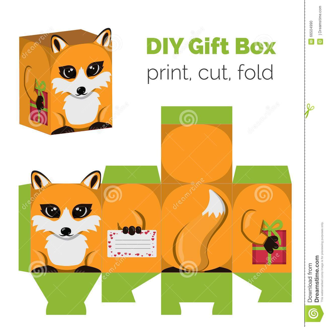 Adorable do it yourself diy fox gift box with ears for sweets adorable do it yourself diy fox gift box with ears for sweets candies small presents printable color scheme print it on thick paper cut out solutioingenieria Gallery