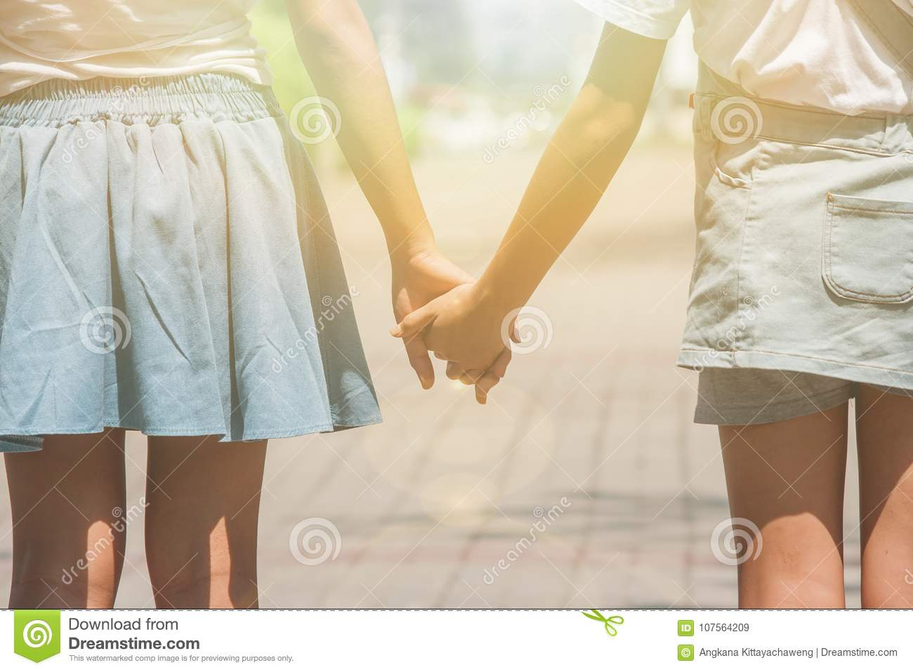 Adorable Family Concept : Two sisters walking on walkway at public park and holding hand together.