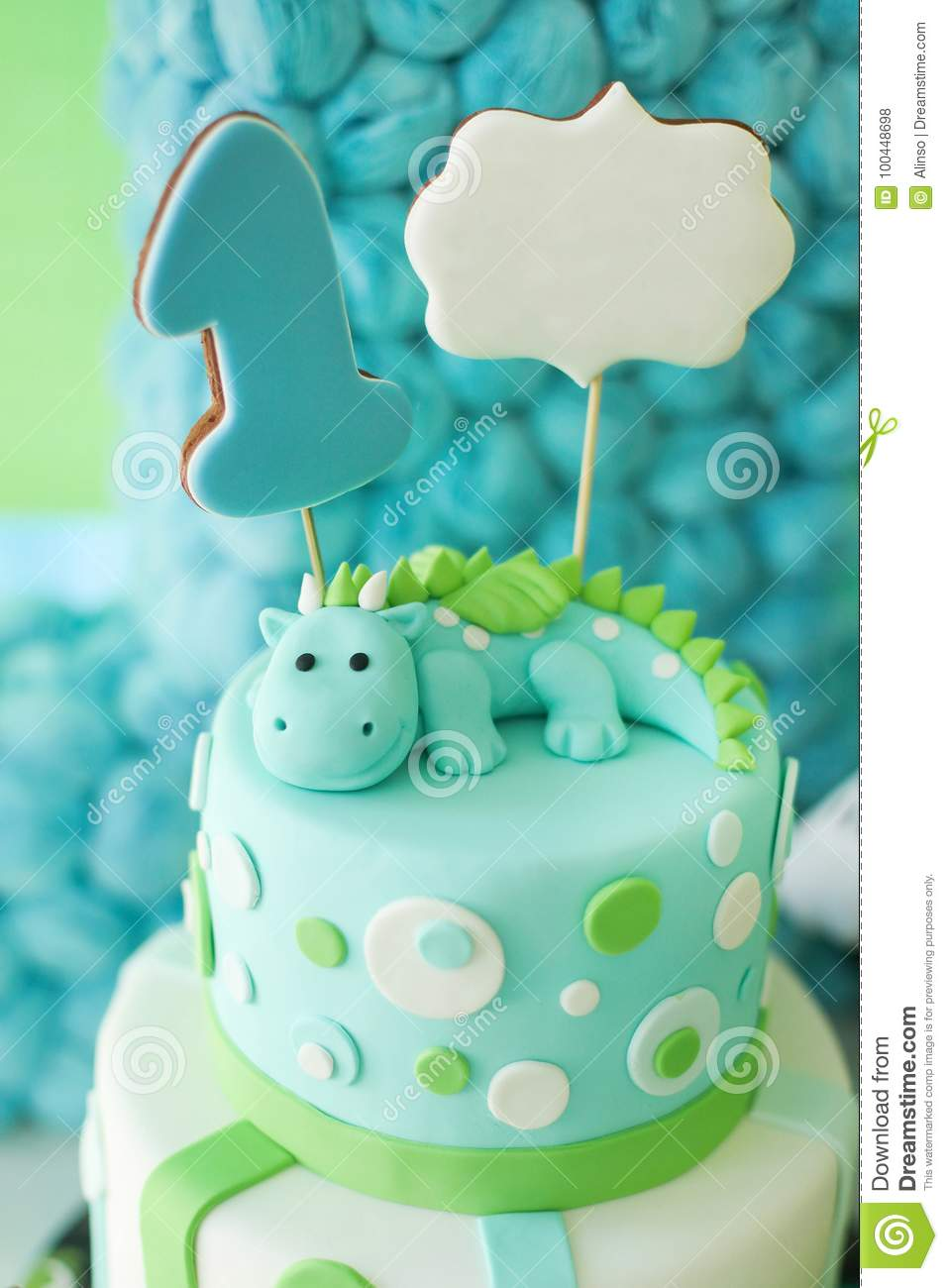 Super Adorable First Birthday Cake With Dragon Stock Photo Image Of Funny Birthday Cards Online Elaedamsfinfo