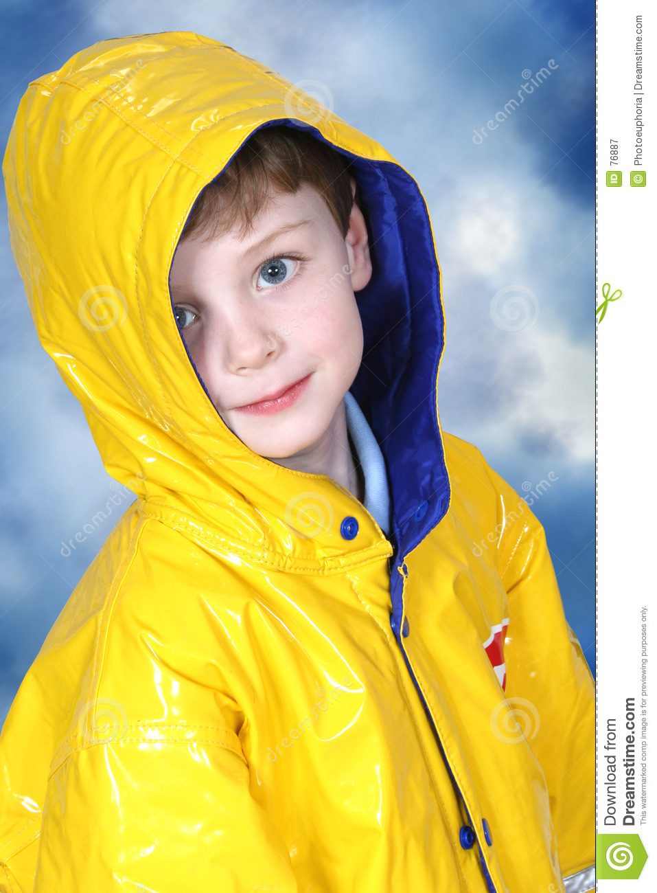 Adorable Four Year Old Boy in Rain Coat