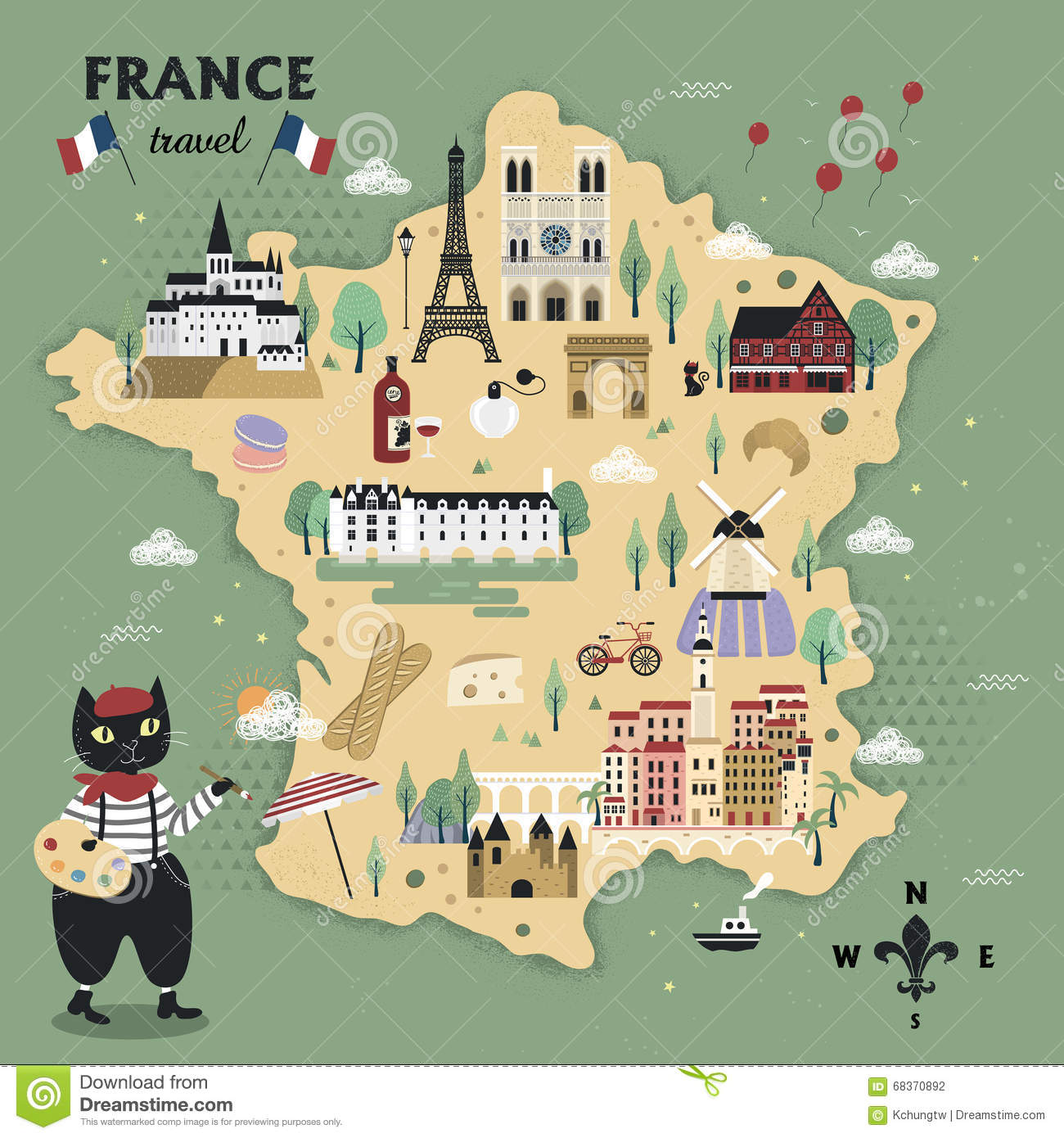 Adorable France Travel Map Vector Image 68370892 – Tourist Attractions Map In France