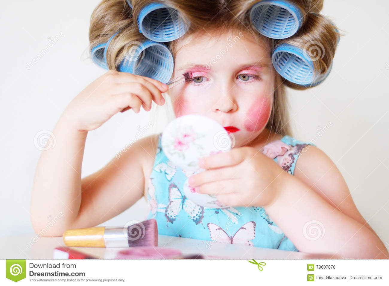 Adorable Funny Little Girl Making Makeup With Mother Cosmetics Stock