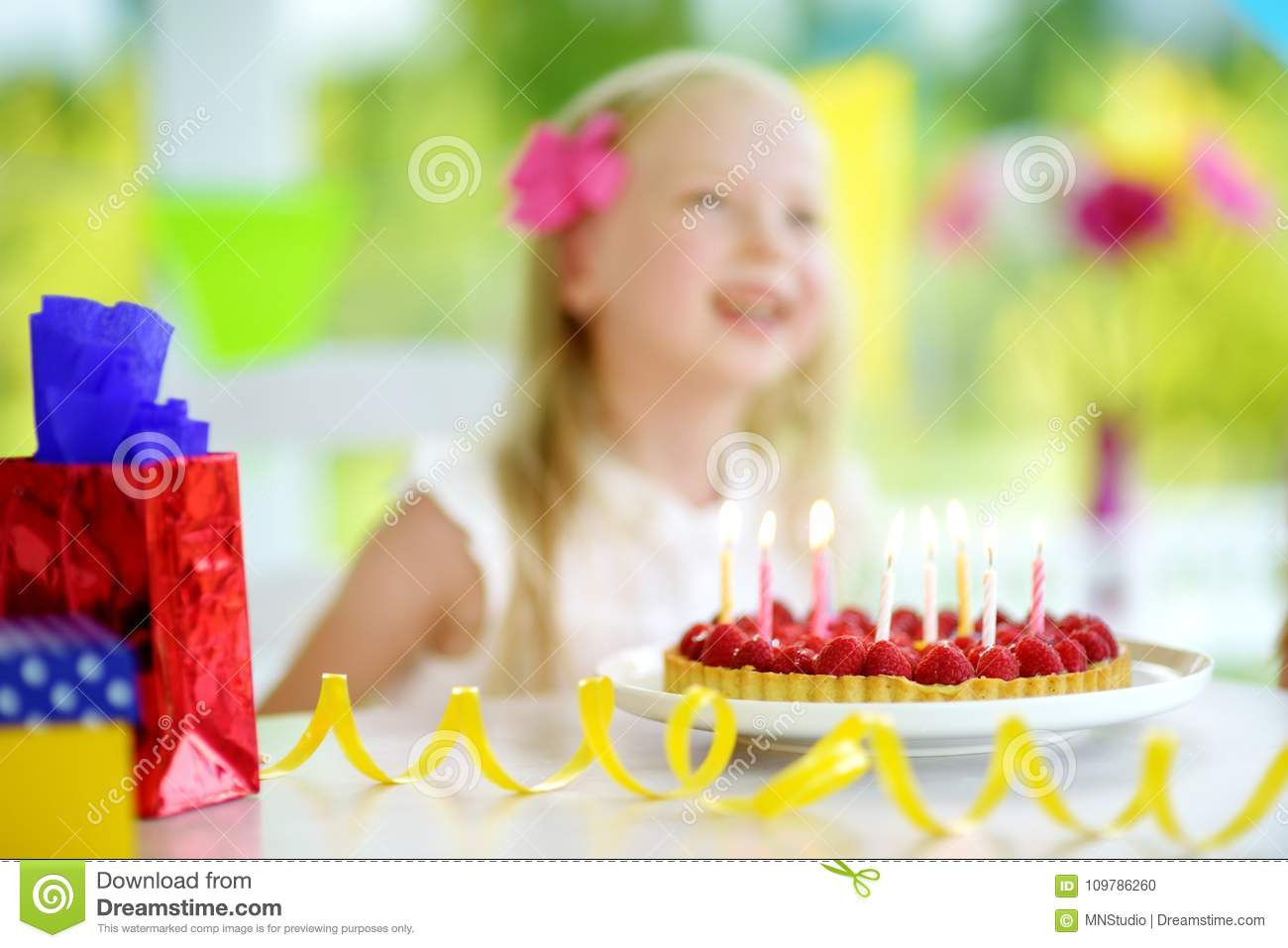 Admirable Adorable Girl Having Birthday Party At Home Blowing Candles On Birthday Cards Printable Opercafe Filternl