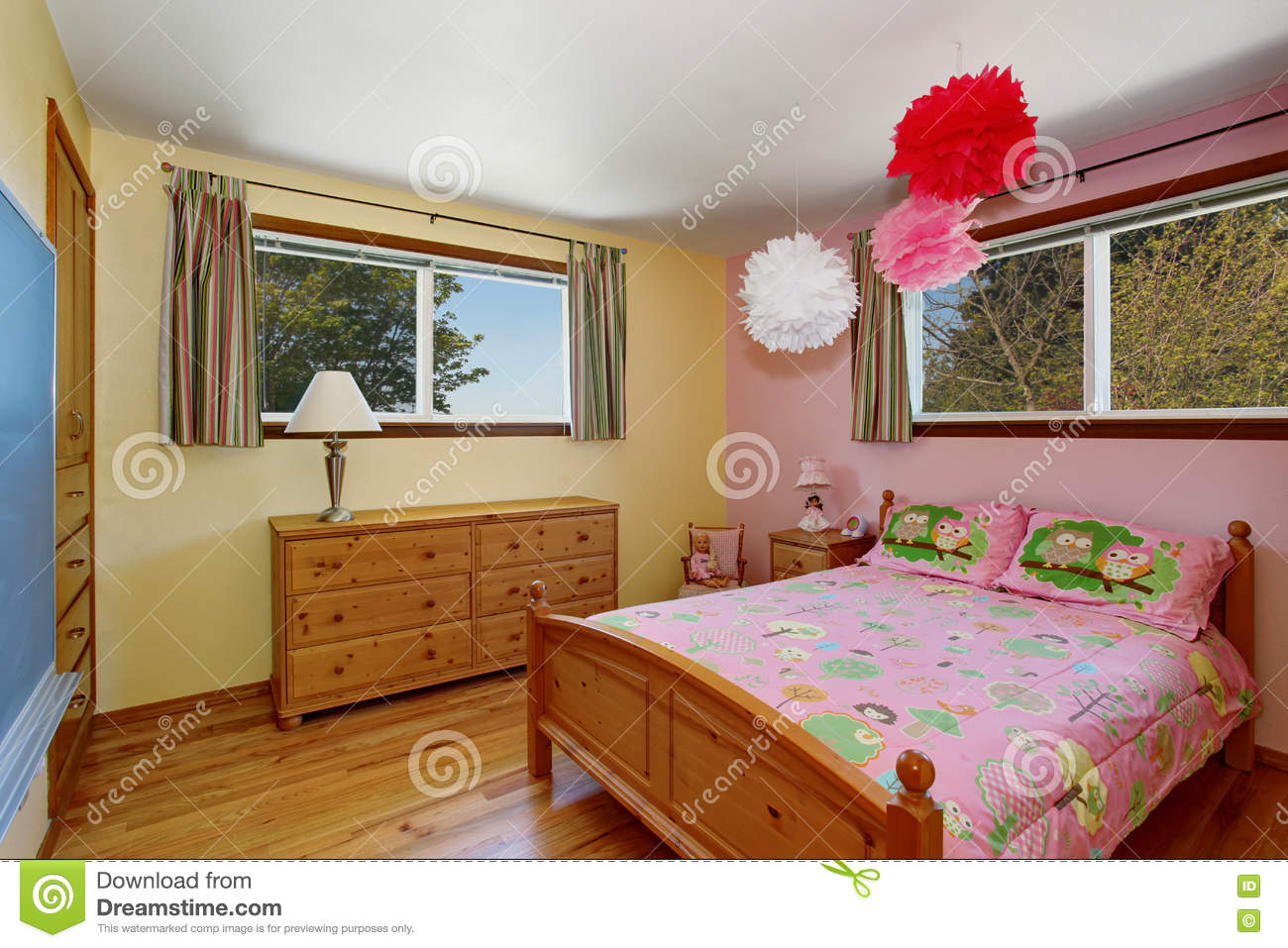 adorable girls bedroom interior with hardwood floor and pink wall rh dreamstime com