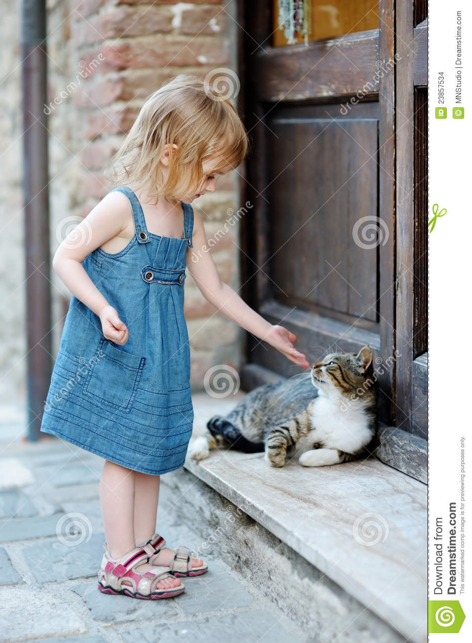 Adorable Happy Little Girl And A Cat Stock Photo Image