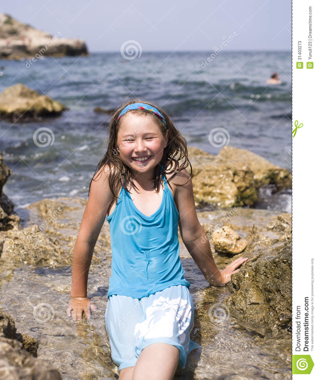 Adorable Happy Smiling Little Girl On Beach Vacation Stock