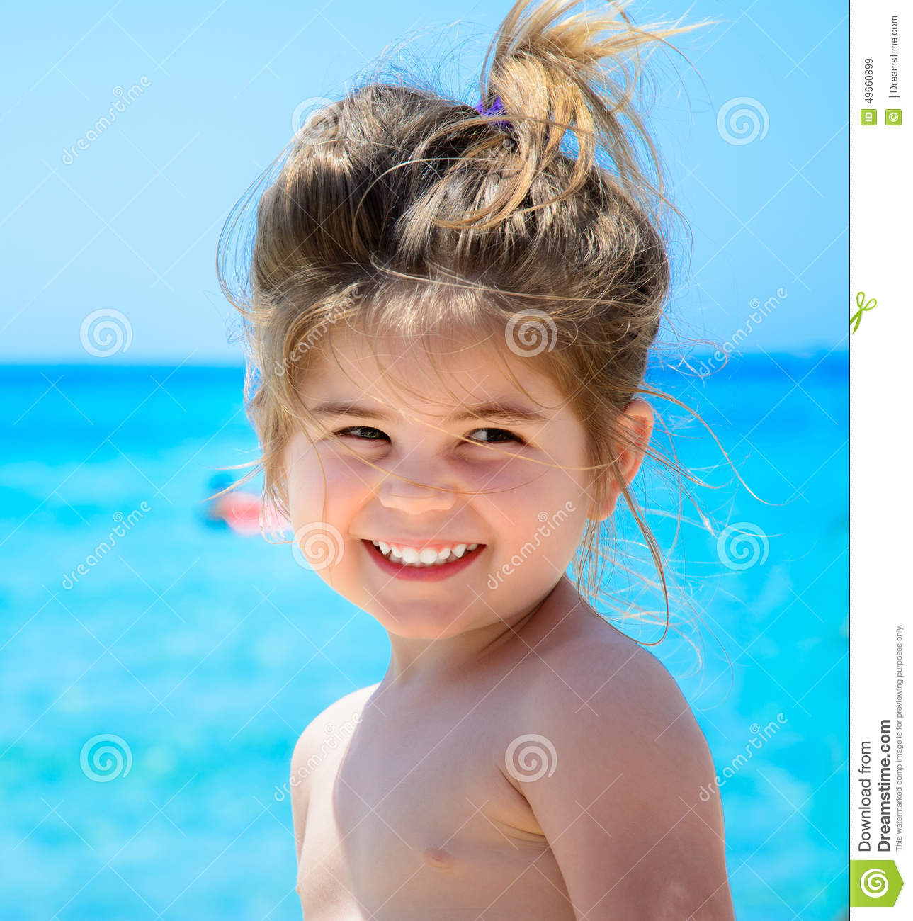 Beach Tropical Vacation Kid Blond Girl With Fashion: Adorable Happy Smiling Little Girl On Beach Vacation Stock