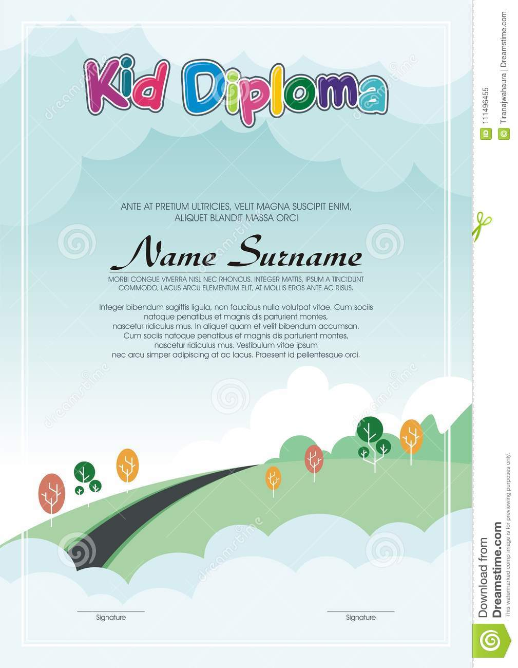 Adorable Kid Diploma With Nature Landscape Stock Vector ...