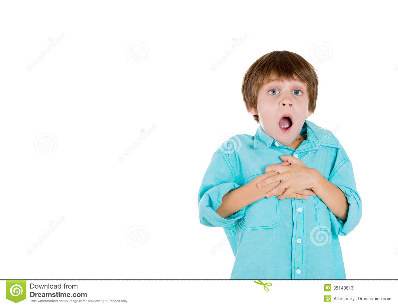 Adorable Kid With Hands On Chest And Jaw Dropped Stock Photos - Image ...