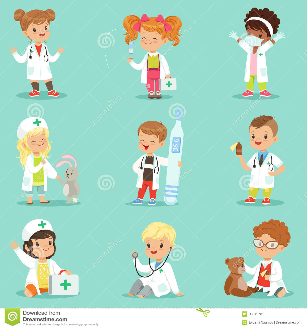 Adorable Little Girl Playing With Beach Toys During: Adorable Kids Playing Doctor Set. Smiling Little Boys And