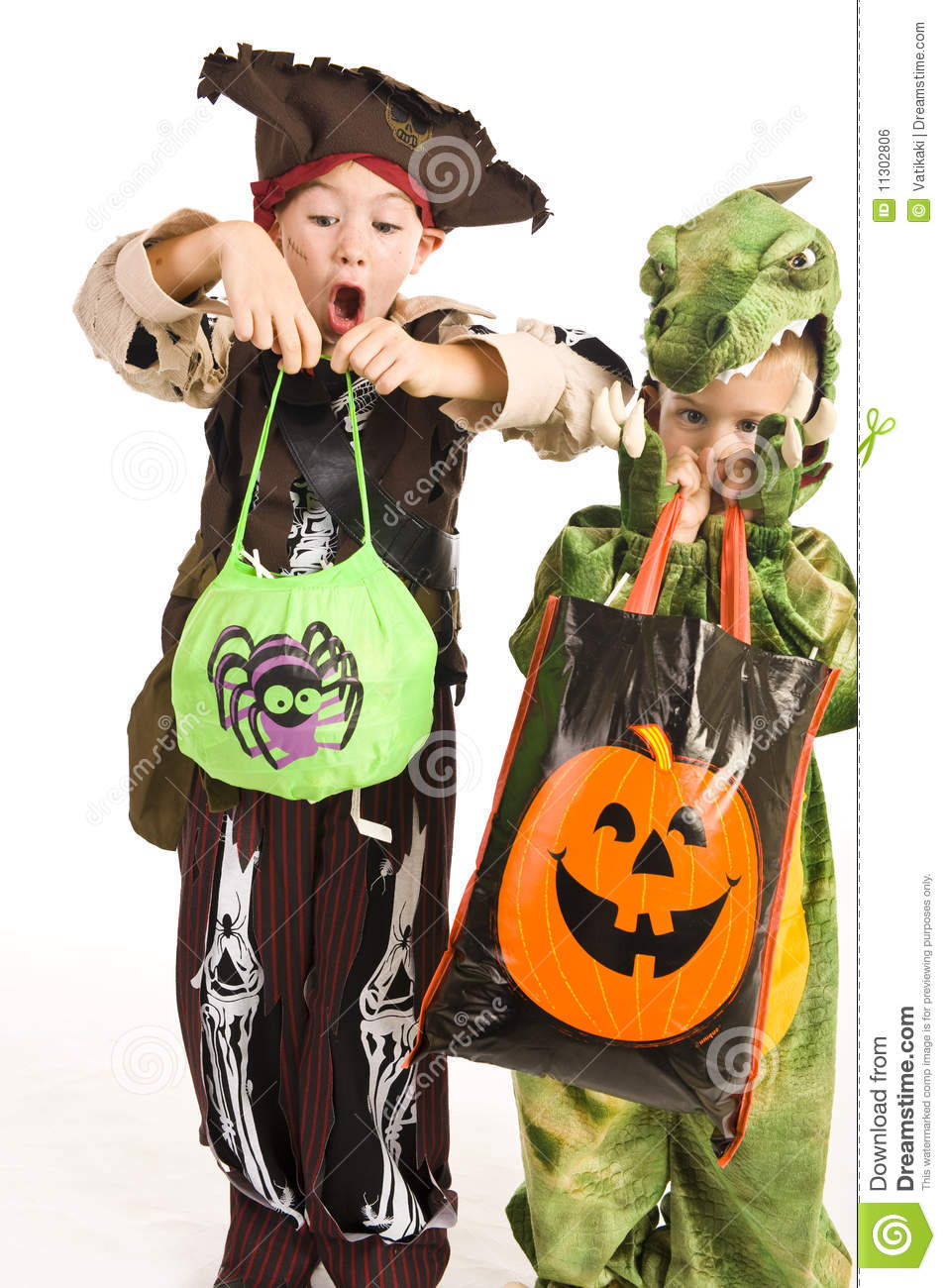 Download Adorable Kids Playing Trick Or Treat Stock Photo - Image of background, fancy: 11302806