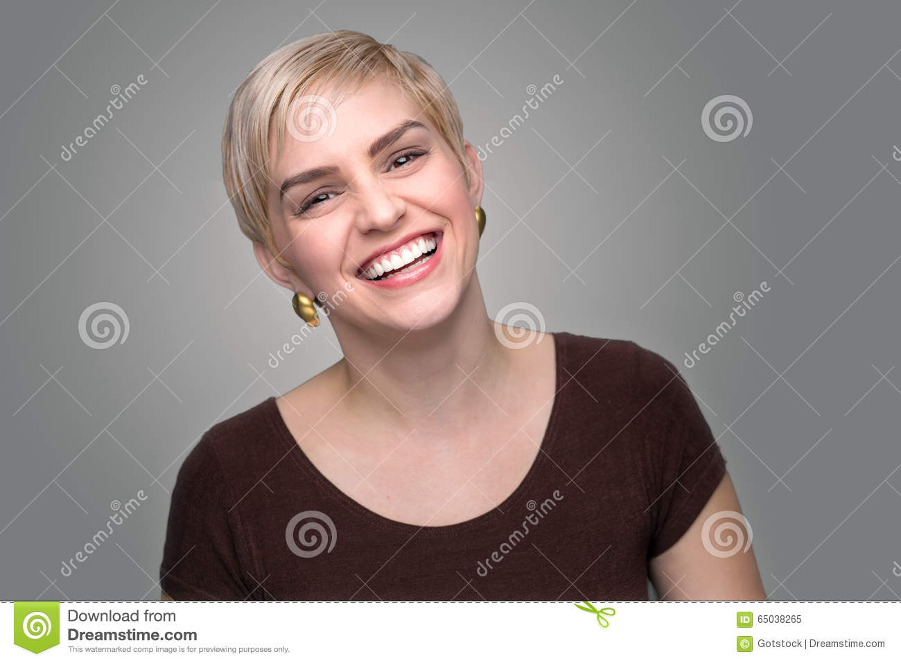 Adorable Laughing Lady Head Shot Short Pixie Haircut Modern Style