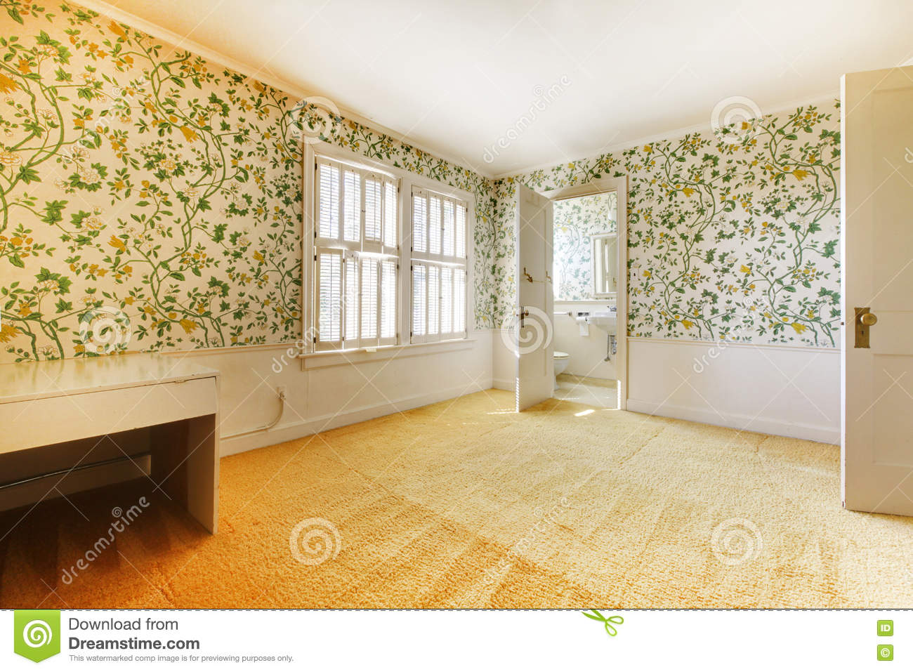 Adorable light bedroom with floral patterned wall paper for Floral pattern wall to wall carpet
