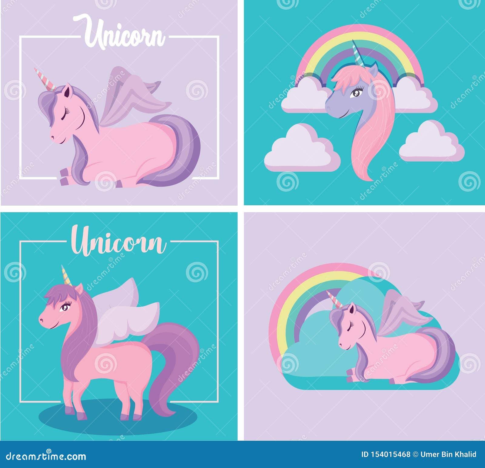 Adorable lindo de Unicorn Fairy Tale With Clouds y del arco iris en sentarse y la posición derecha