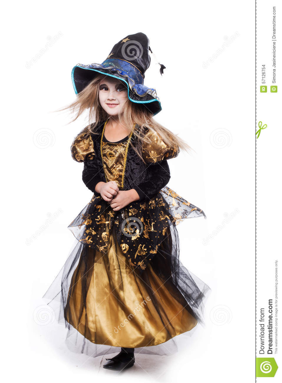 Adorable Little Blond Girl Wearing A Witch Costume Smiling At The ...
