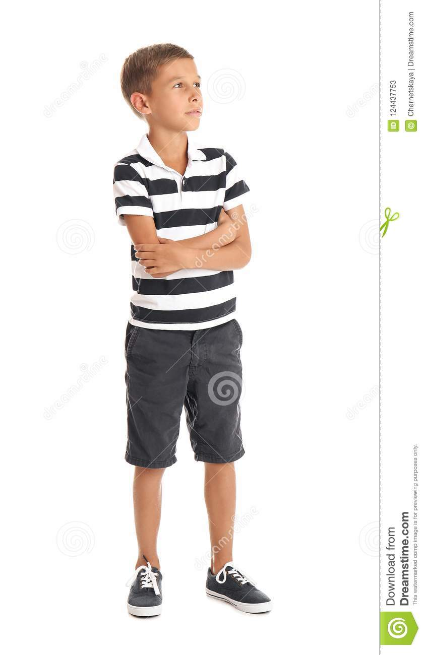 Adorable Little Boy In Casual Clothes