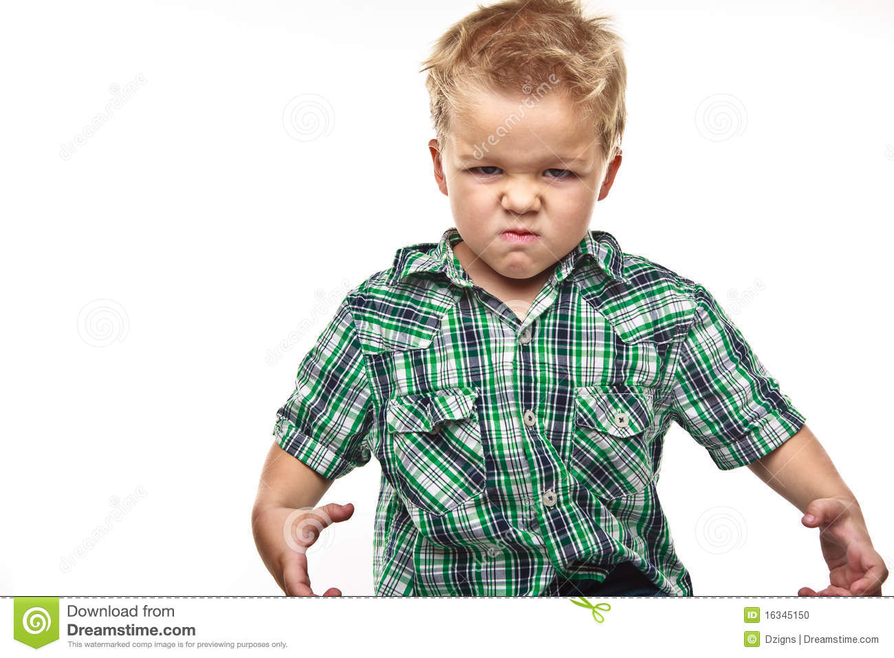 Adorable Little Boy Looking Angry Stock Photo Image