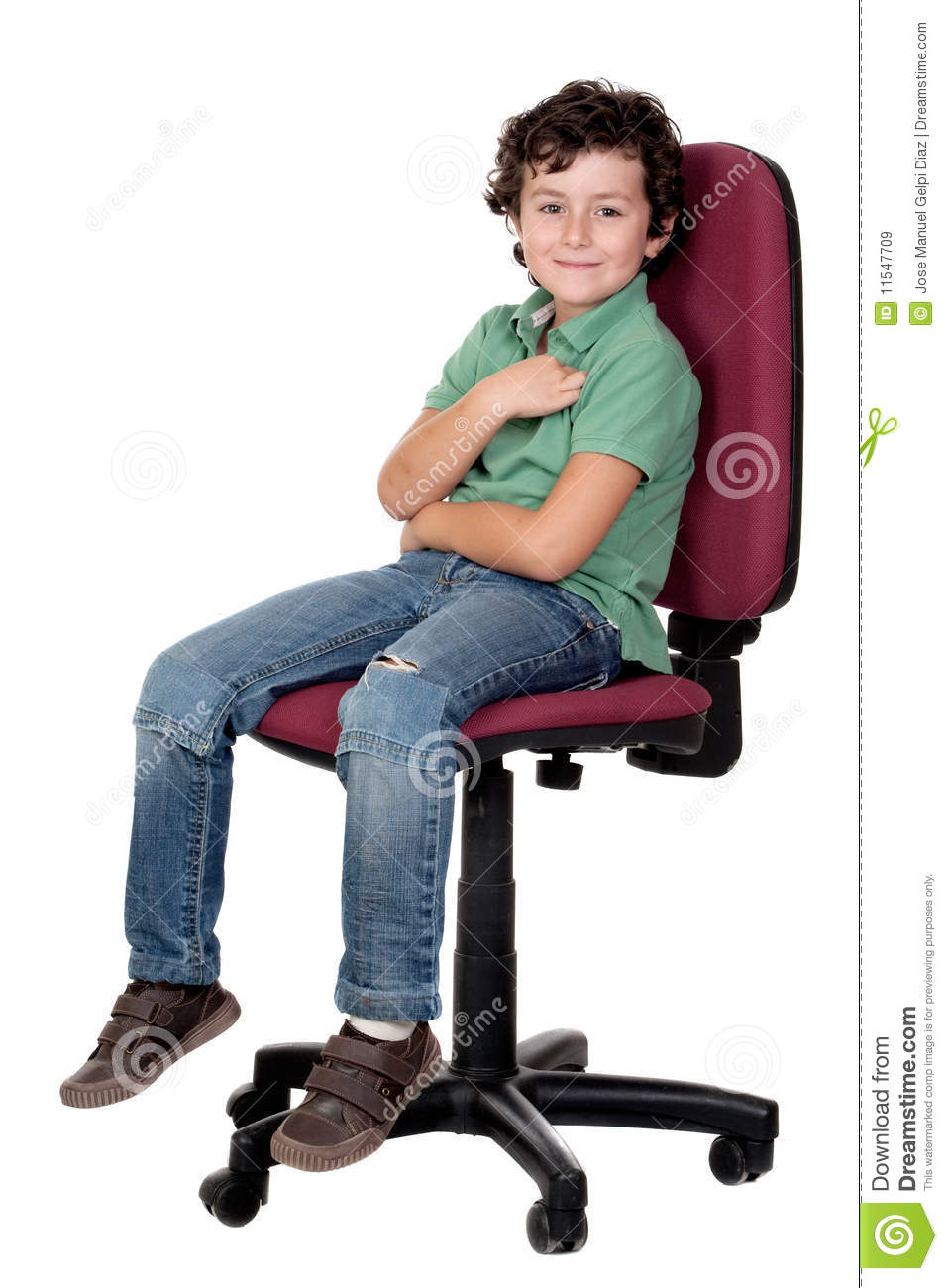 Adorable little boy sitting on big chair royalty free for Sitting chairs