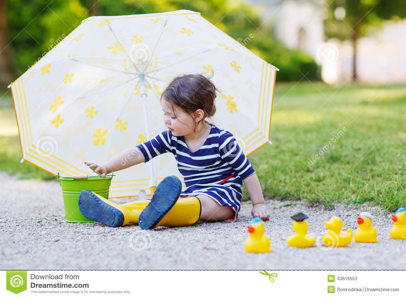 Adorable Little Child In Yellow Rain Boots And Umbrella In Summe ...