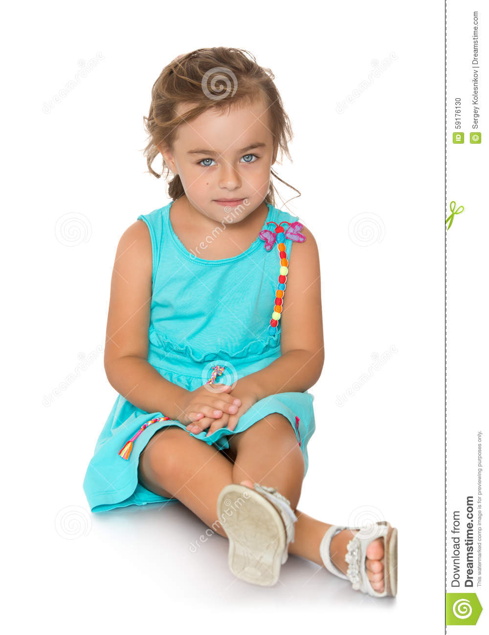Adorable Little Fashion Girl With Beautiful Hair Stock