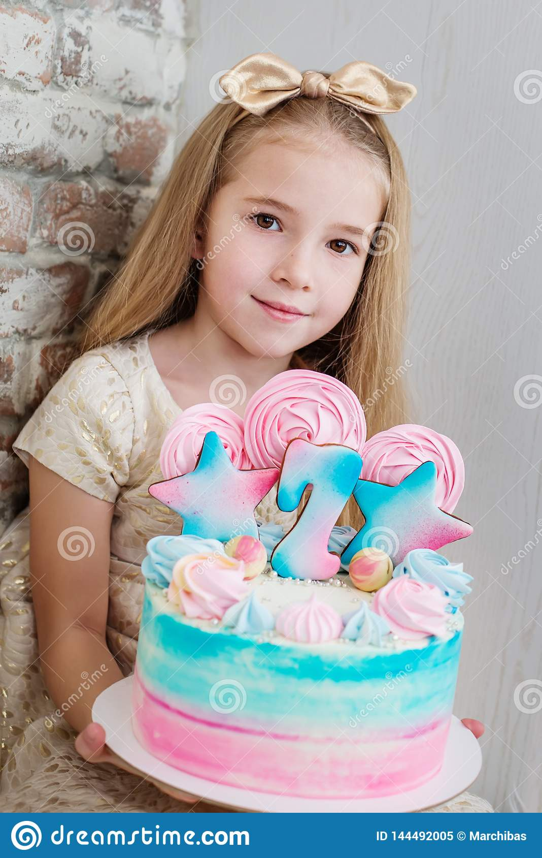 Prime Adorable Little Girl With A Birthday Cake Stock Image Image Of Funny Birthday Cards Online Elaedamsfinfo