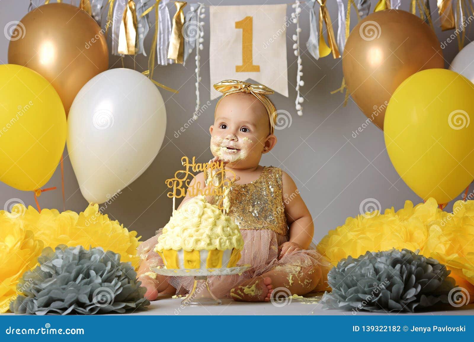 Pleasant Adorable Little Girl With Birthday Cake Stock Photo Image Of Personalised Birthday Cards Veneteletsinfo