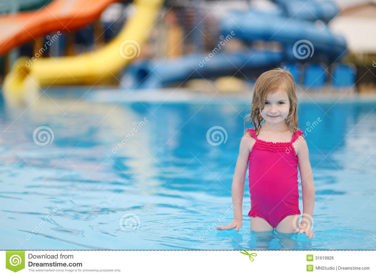 Adorable little girl having fun in a swimming pool royalty for Cute pool pictures