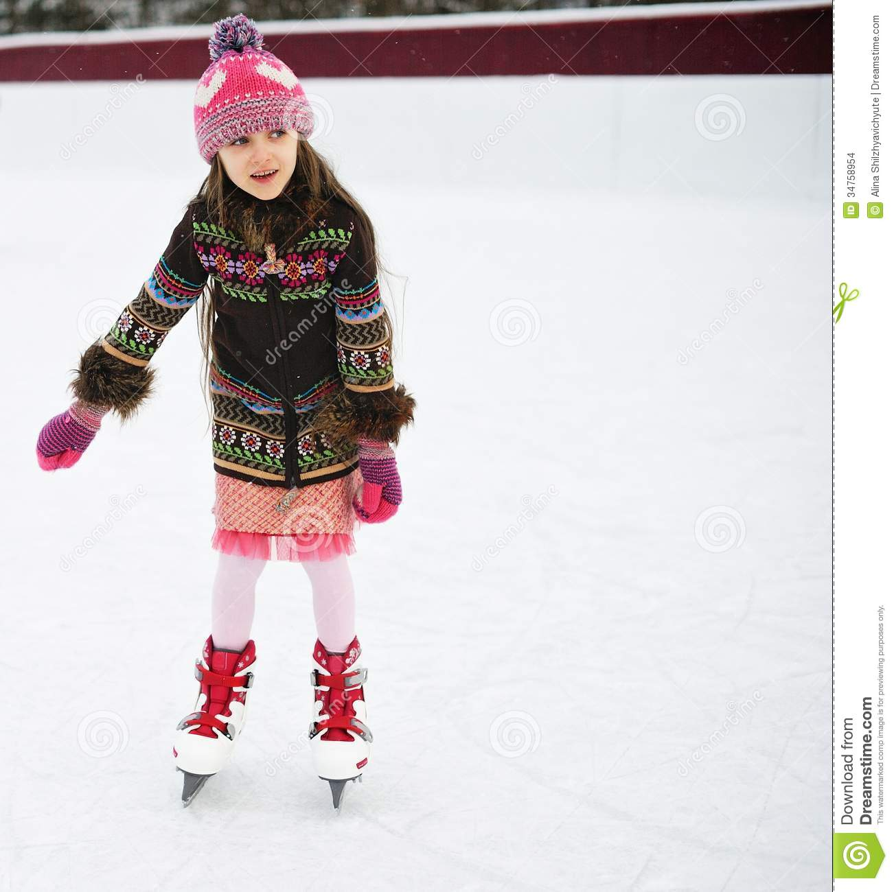 Adorable Little Girl On The Ice Rink Stock Photo Image