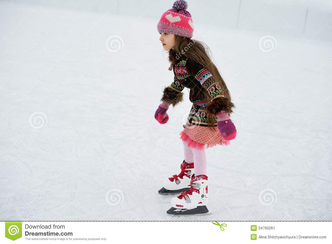 Adorable Little Girl On The Ice Rink Stock Image Image