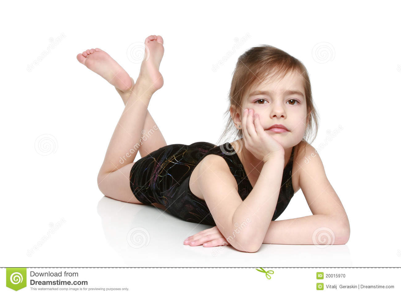 Adorable Little Girl Lying On White Background Stock Photo - Image ...