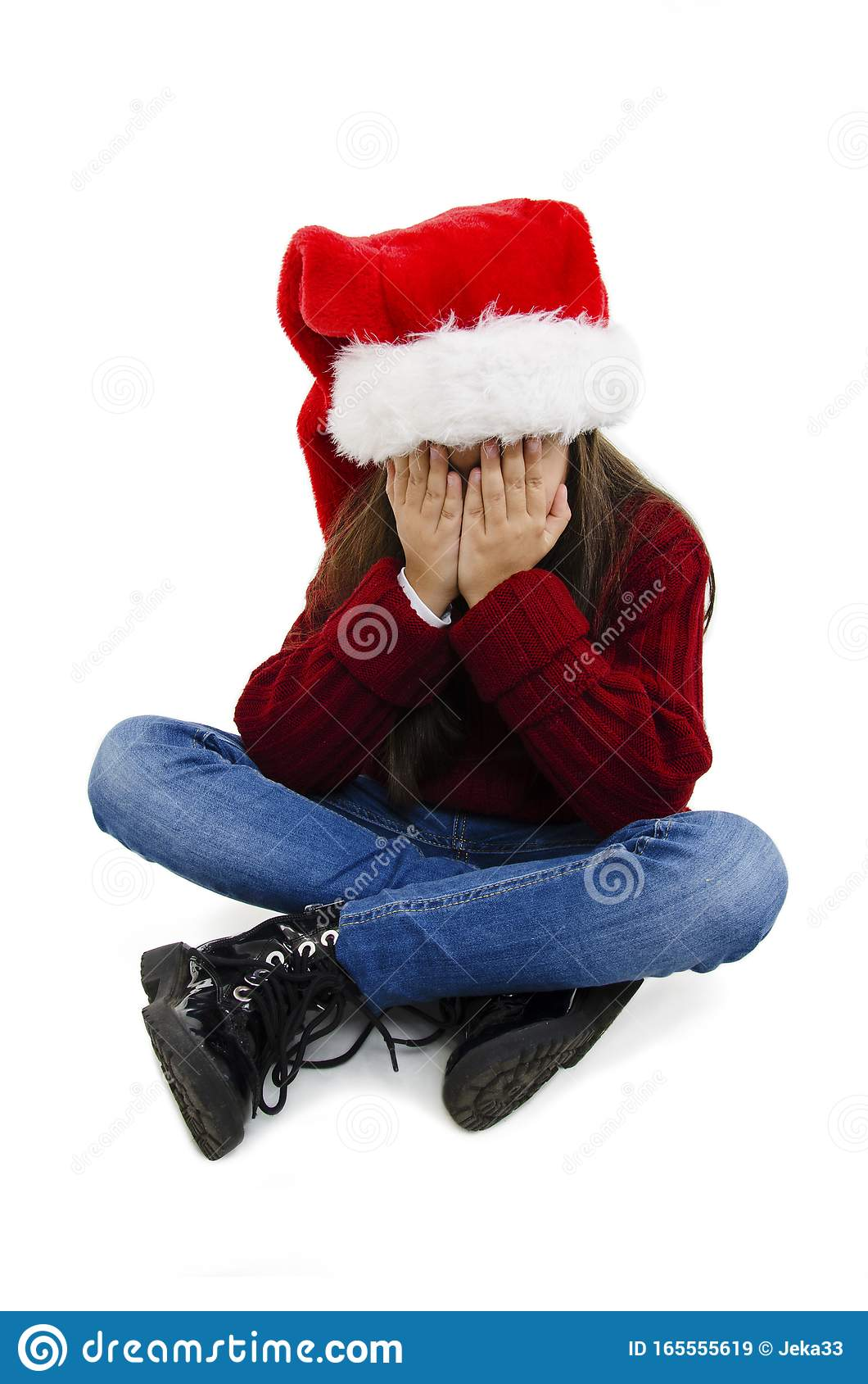 Adorable Little Girl Over Isolated Background Wearing Christmas Hat With Sad Expression Covering ...