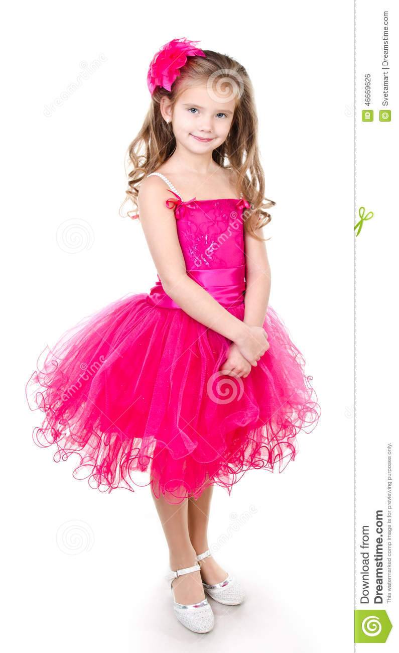 Adorable Little Girl In Princess Dress Isolated Stock