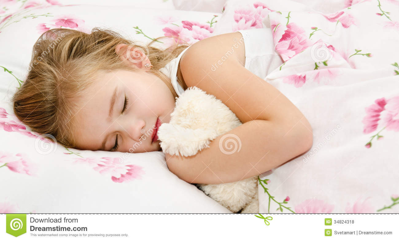 ... Girl Sleeping In The Bed Royalty Free Stock Photos - Image: 34824318
