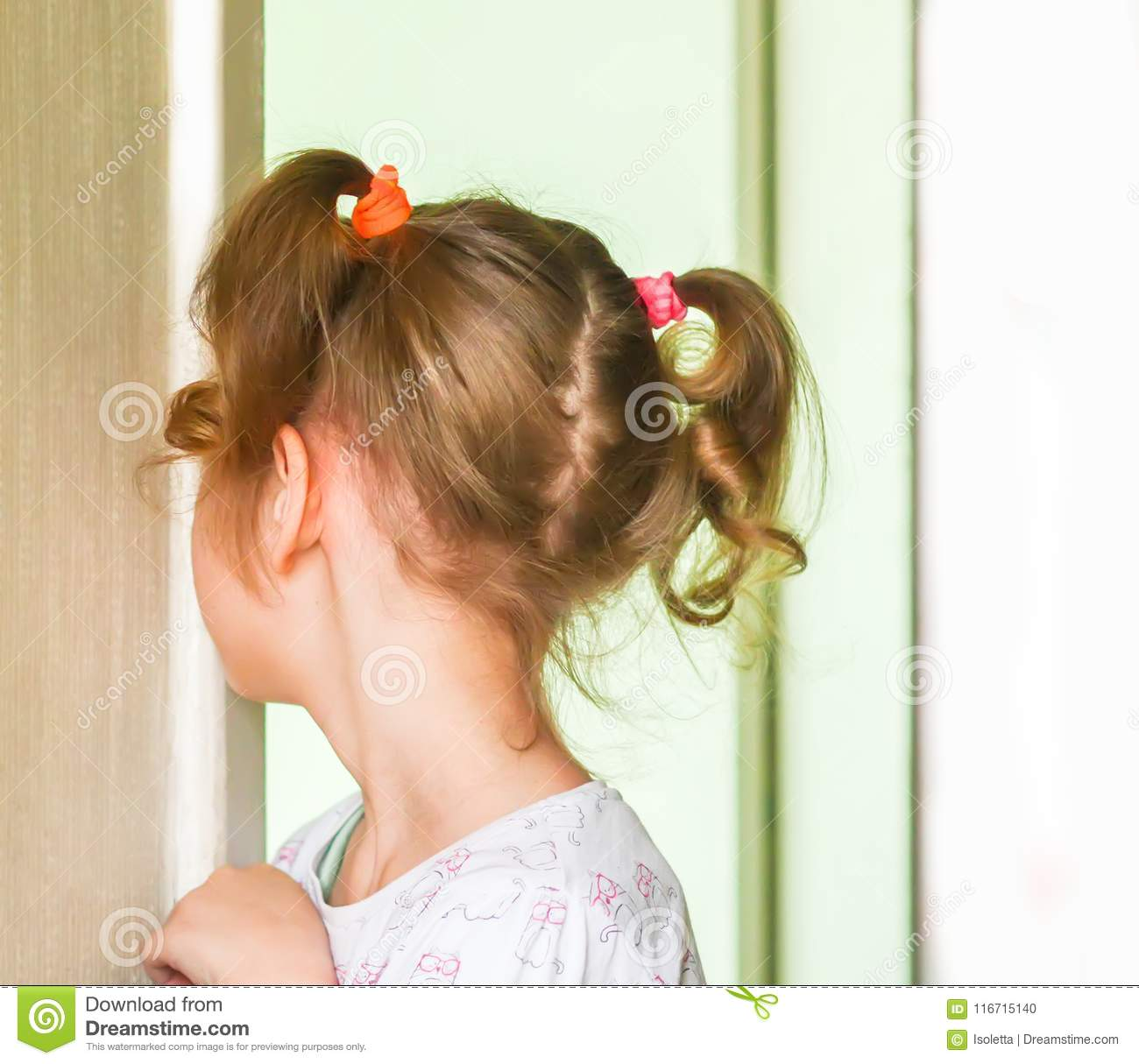 Surprising Adorable Little Girl With Two Ponytails Stock Photo Image Of Natural Hairstyles Runnerswayorg