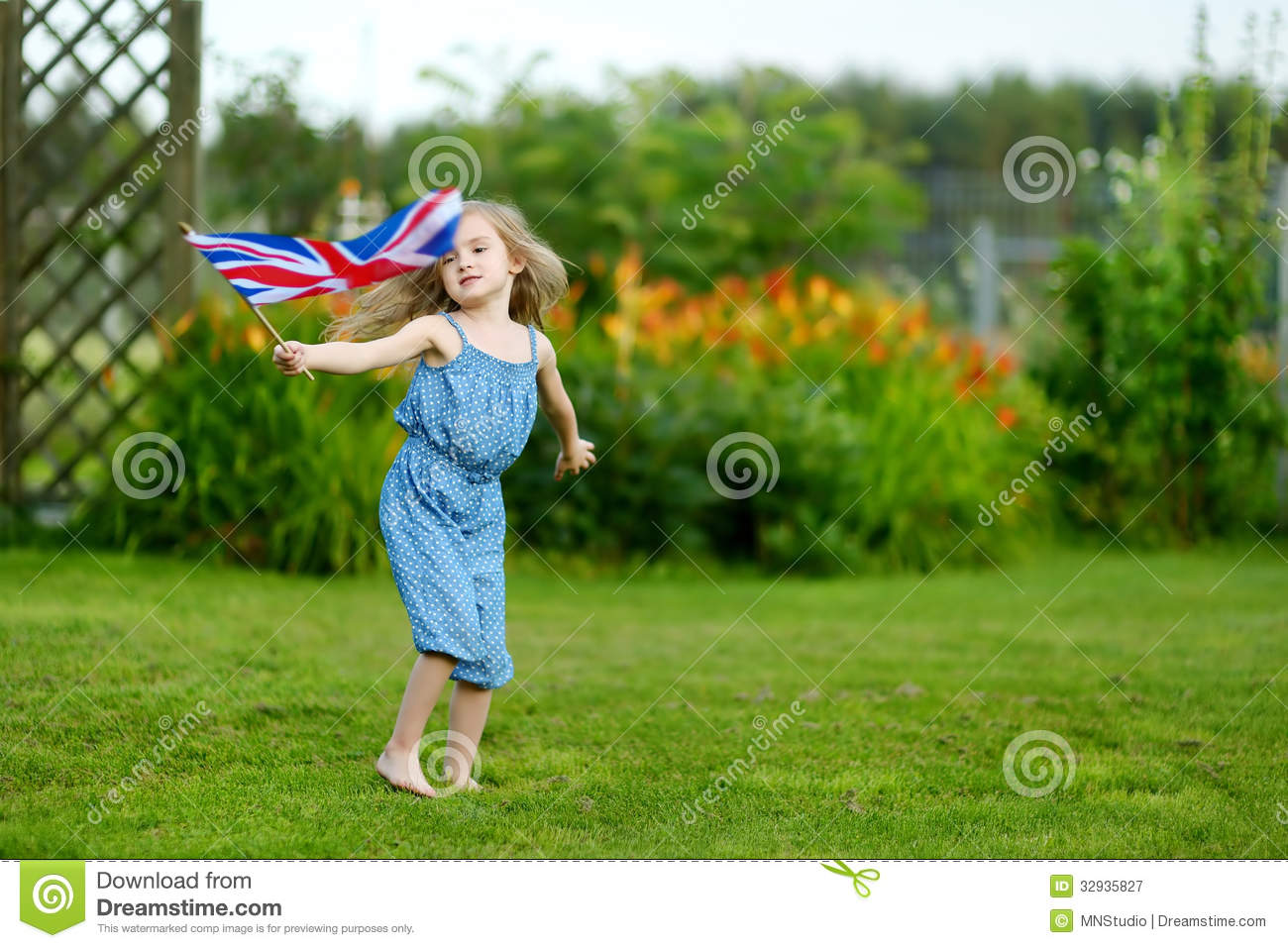 Adorable Little Girl With United Kingdom Flag Stock Image -4572