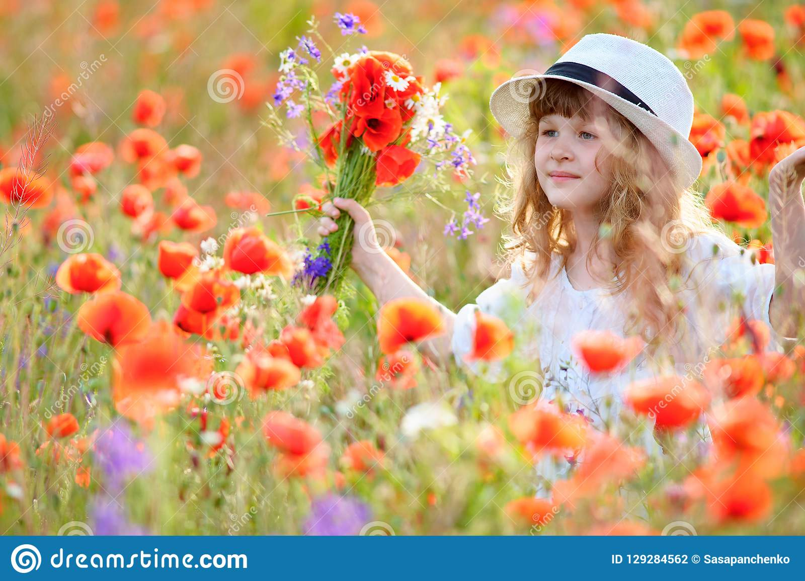 Adorable little girl in white dress playing in poppy flower field. Child picking red poppies. Toddler kid having fun in summer me