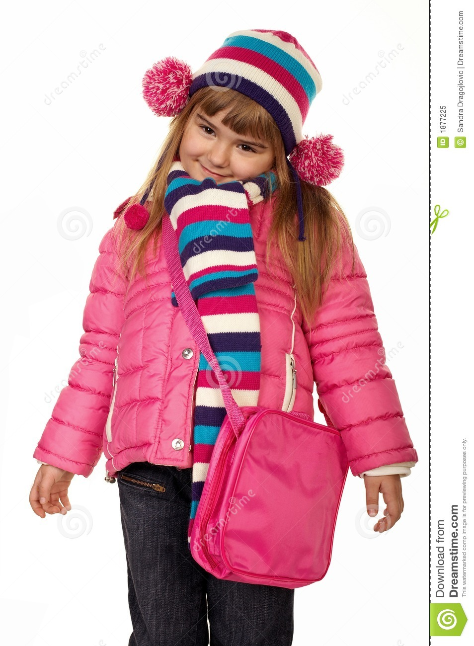 adorable little girl in winter clothes stock image image