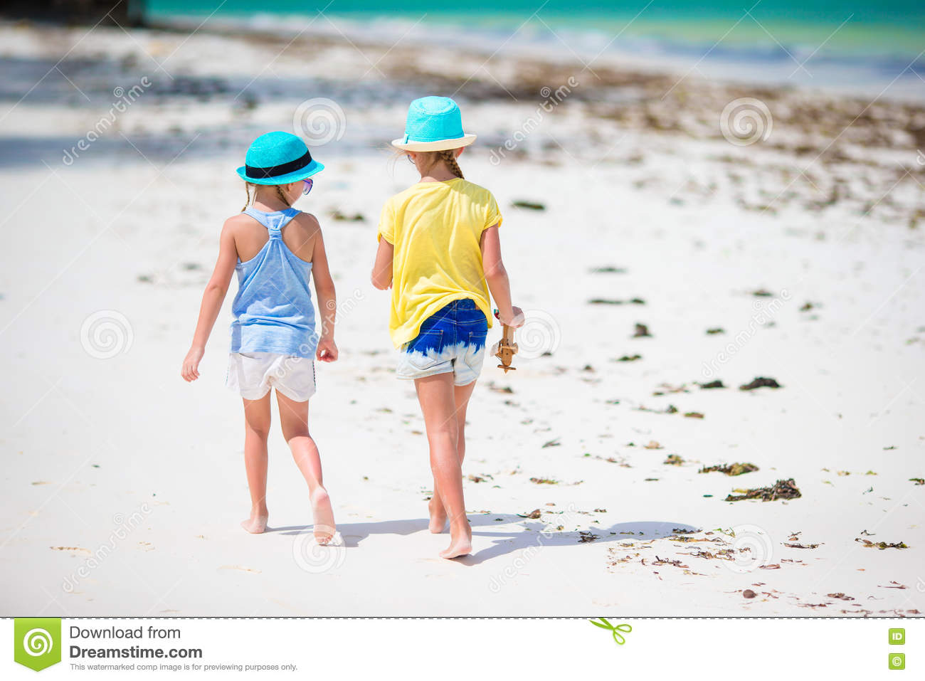 Adorable Little Girls On Beach Summer Vacation Stock Image