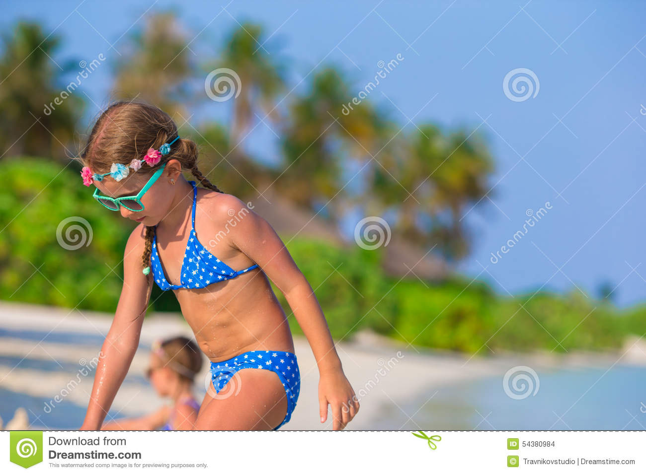 Adorable Little Girls Playing With Beach Toys Stock Photo -8002