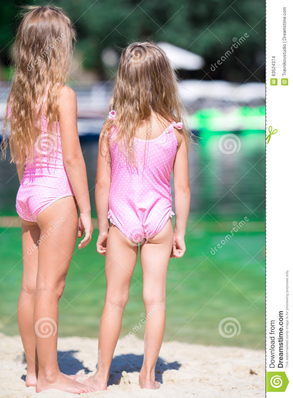 adorable little girls during summer vacation stock photo image of