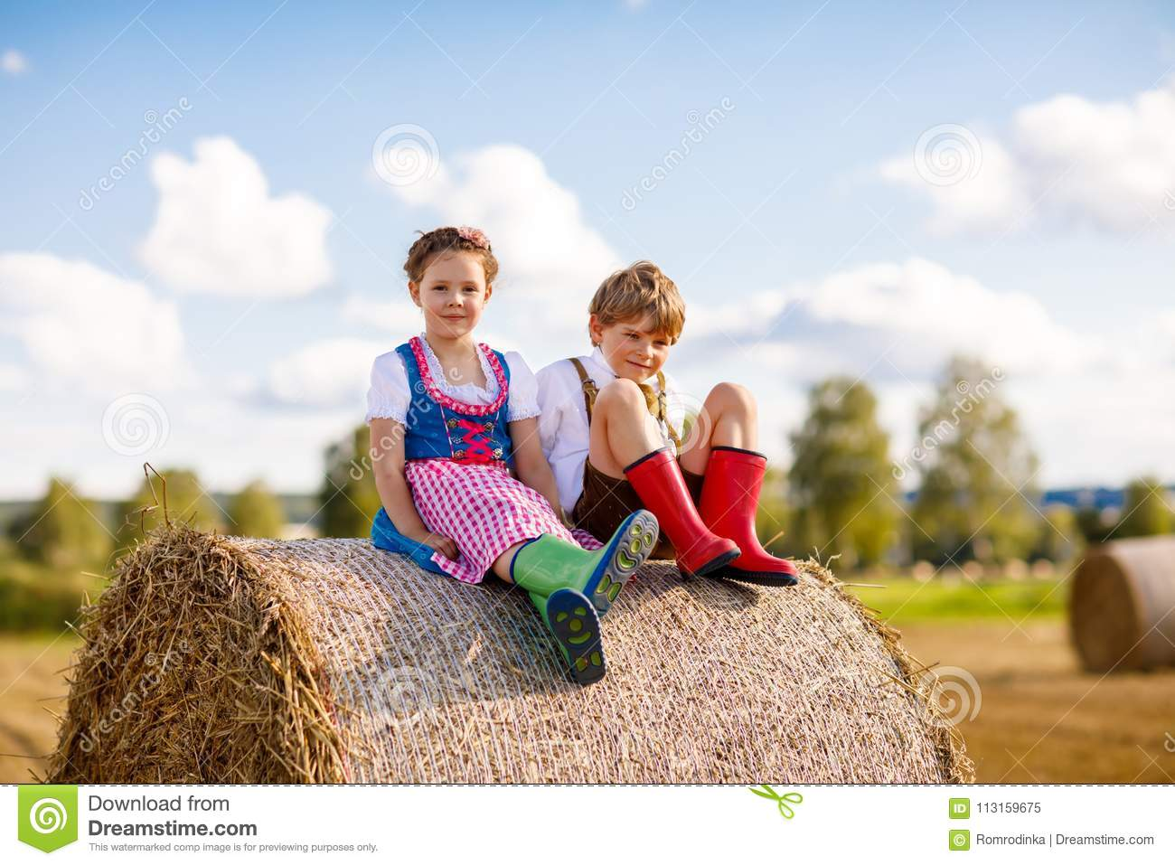 Adorable little kid boy and girl in traditional Bavarian costumes in wheat field on hay stack
