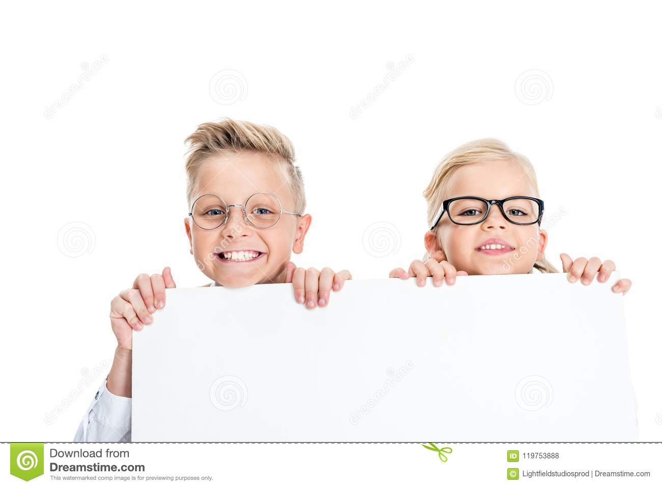 5564fb5b981d adorable little kids in eyeglasses holding blank banner and smiling at  camera