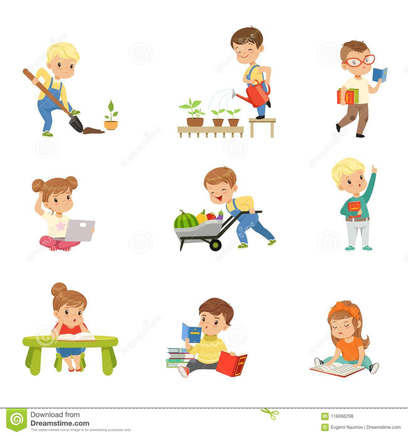 Adorable little kids reading books and working in the garden set, cute preschool children learning, studying and