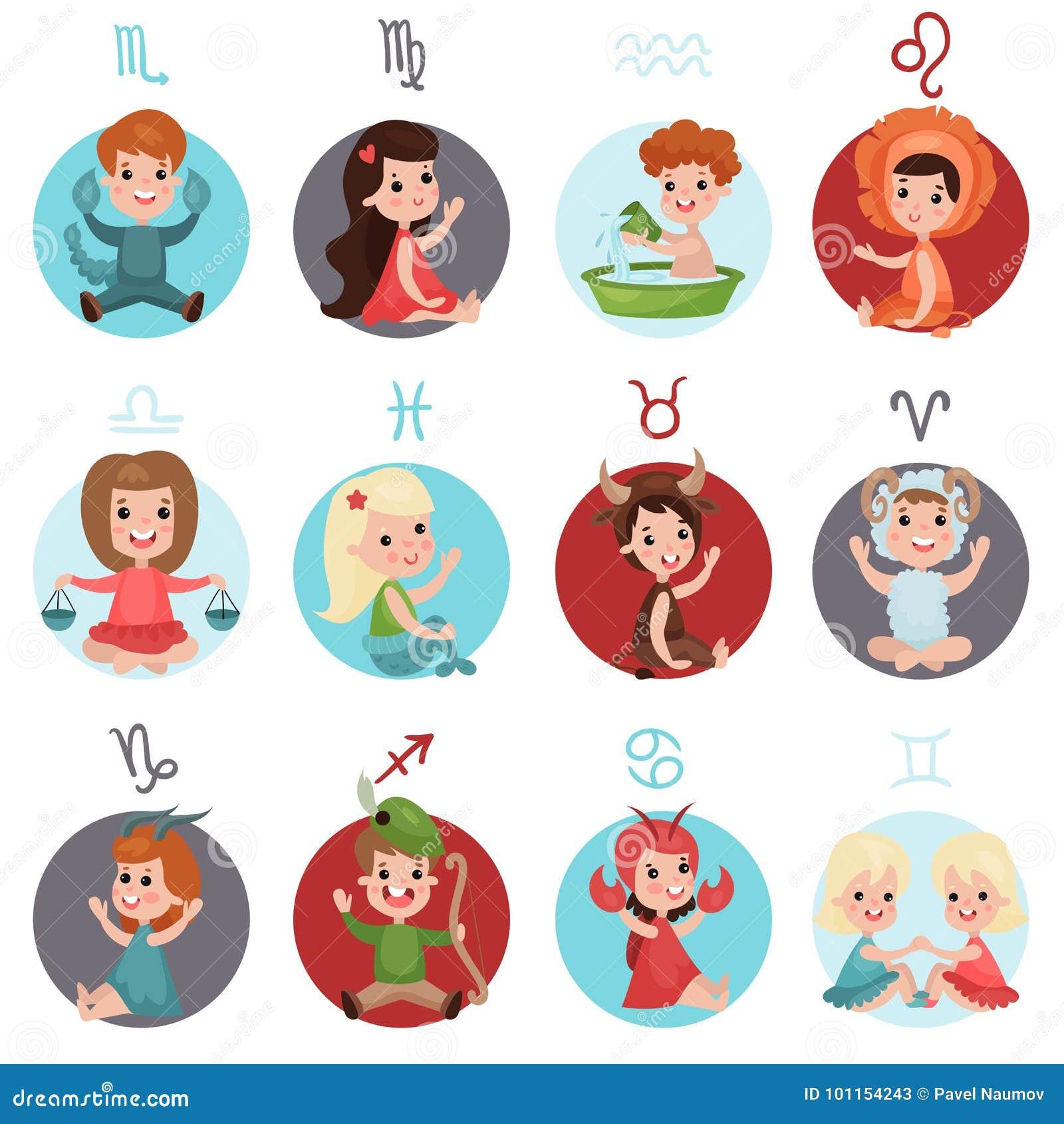 Adorable little kids wearing zodiac signs costumes set twelve adorable little kids wearing zodiac signs costumes set twelve cute zodiac symbols cartoon illustrations buycottarizona Images